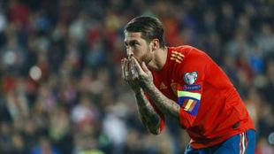 Ramos, tras marcar el gol del triunfo ante Noruega.