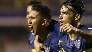 'Bebelo' Reynoso celebra su gol ante Wilstermann