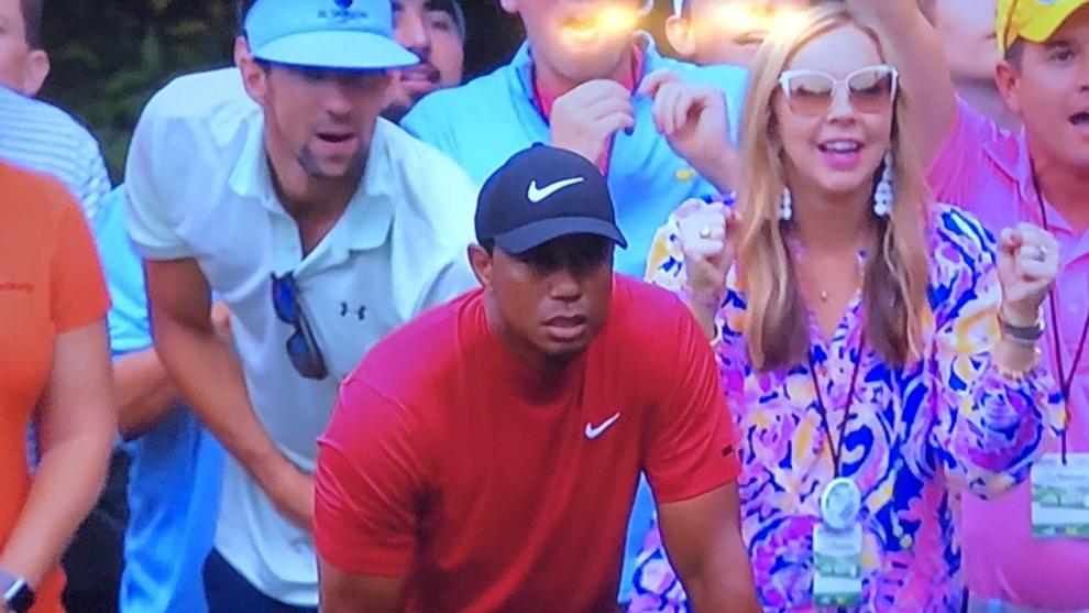 El momento en el que Phelps alienta a Woods