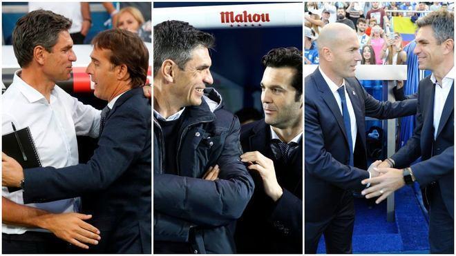 Pellegrino, con Lopetegui, Solari y Zidane.