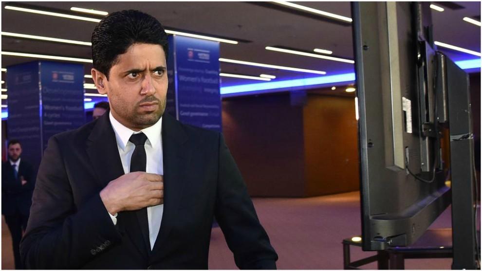 Al-Khelaïfi, durante un reciente Congreso de la UEFA.