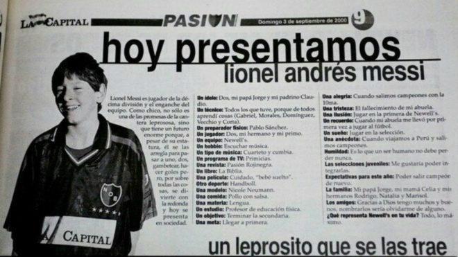 La entrevista a Messi a sus 13 años.