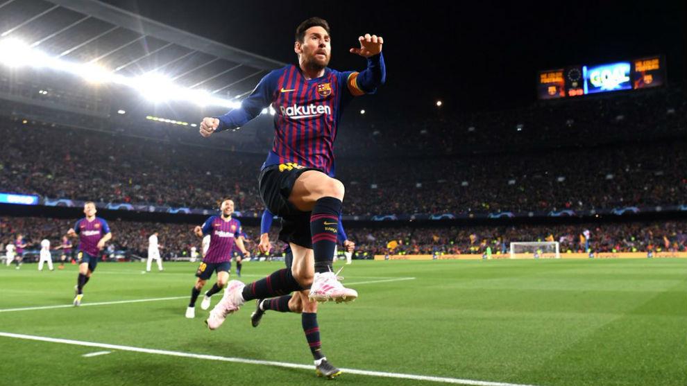 Lionel Messi festeja su golazo ante el United