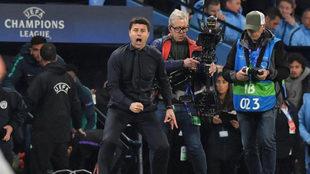 Pochettino celebra uno de los goles ante el Manchester City en la...