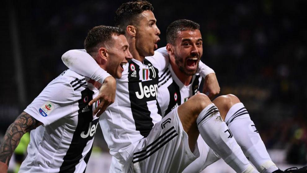 Cristiano Ronaldo celebra el gol ante el Inter.