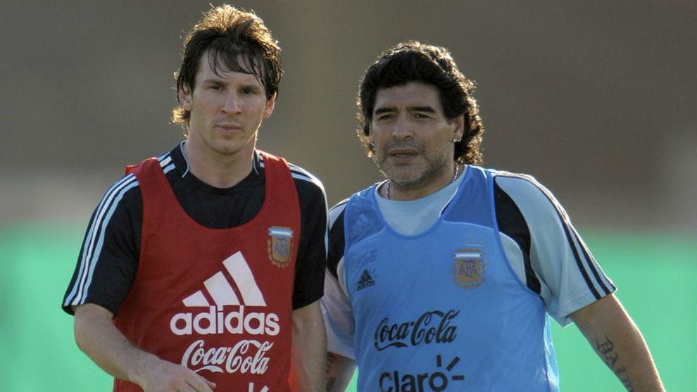 Maradona dirigió a Messi en la Selección Argentina