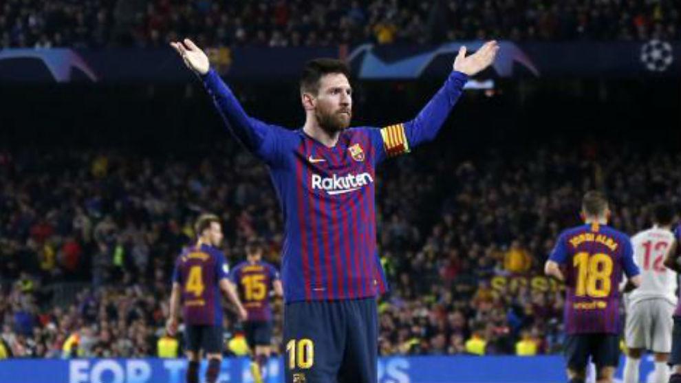 Messi celebra uno de sus goles ante el Liverpool.