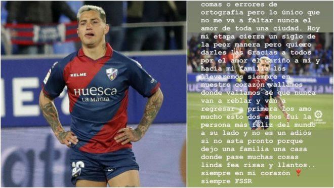 Lágrimas del Chimy tras el descenso con el Huesca en España.