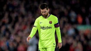 Leo Messi en Anfield.