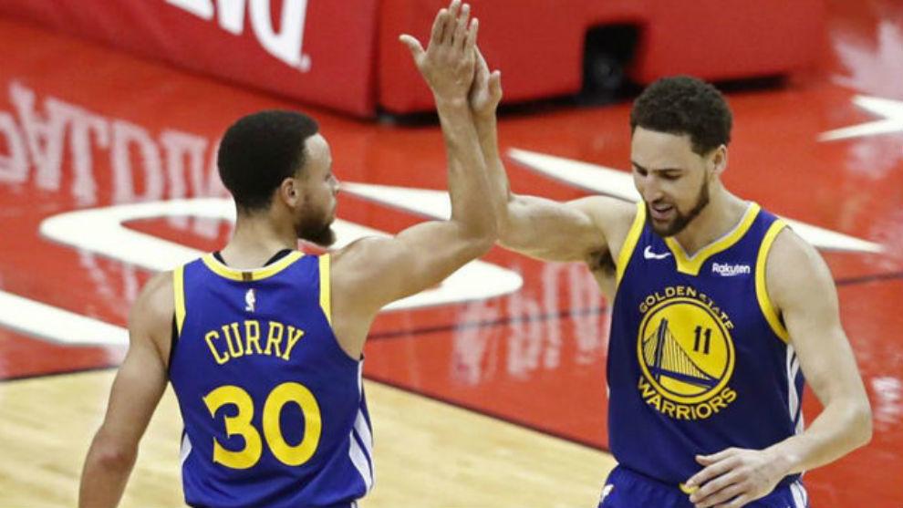 Stephen Curry y Klay Thompson fueron los artífices de la victoria de...