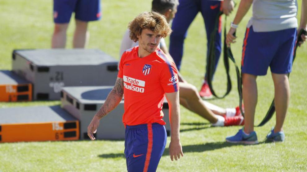 Griezmann, en el entrenamiento de este miércoles con el Atlético.