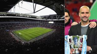 Wembley y Guardiola con la Copa de la Liga.