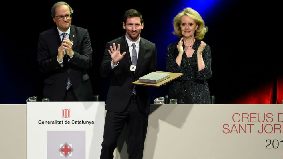 Leo Messi recibe la Cruz de Sant Jordi