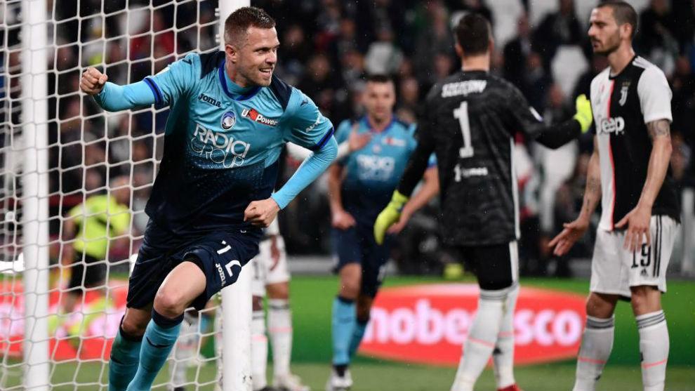 Josip Ilicic celebra su gol a la Juventus.