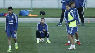 Messi, en un entrenamiento con la Selección.