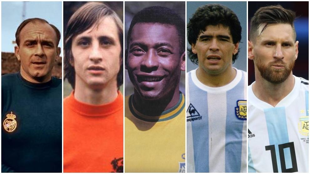 Di Stéfano, Cruyff, Pelé, Maradona y Messi.