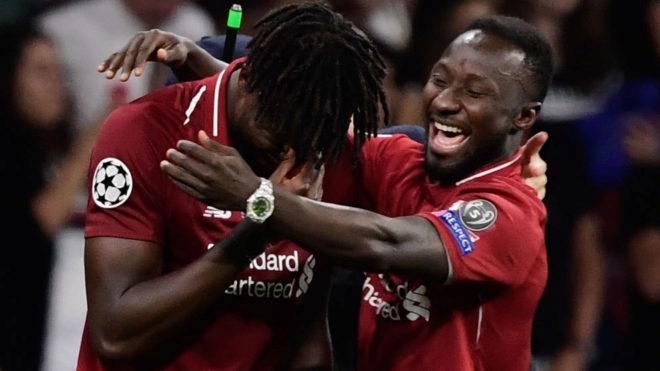 Origi y Mané festejan el segundo gol ante el Tottenham.