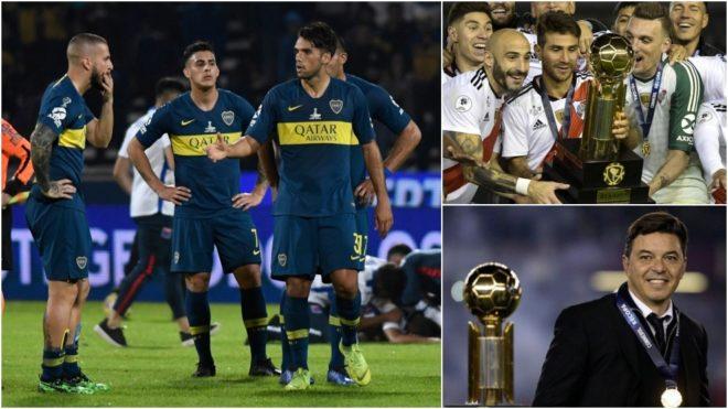 Contraste de realidades futbolísticas entre Boca y River.