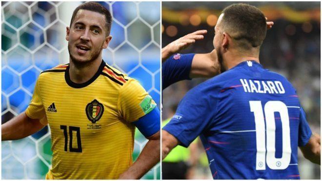 Eden Hazard, con el '10' tanto con Bélgica como con el Chelsea