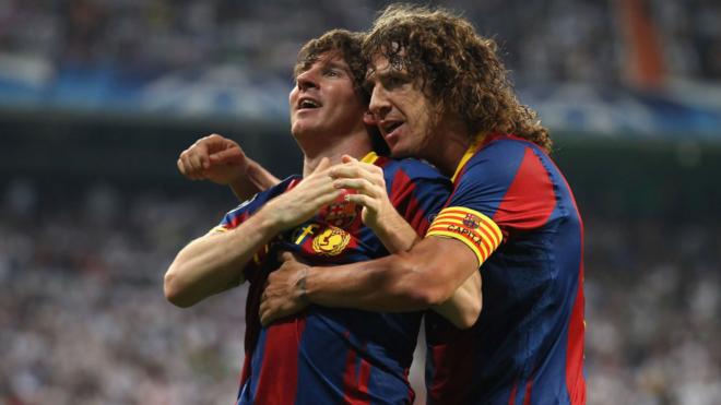Carles Puyol y Lionel Messi juntos en Barcelona