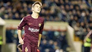 Denis, en un partido con el Barcelona