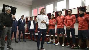 Beccacece en su primera práctica con Independiente.