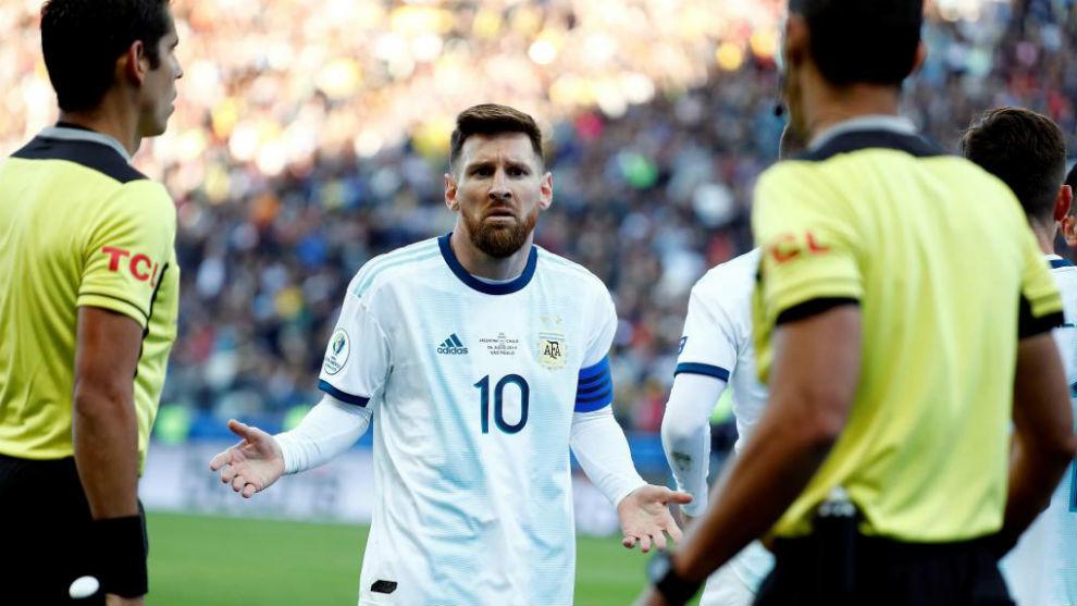 Messi durante un partido de la Copa América.