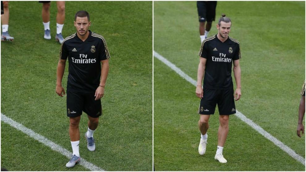 Eden Hazard y Gareth Bale durante la pretemporada del Real Madrid en...
