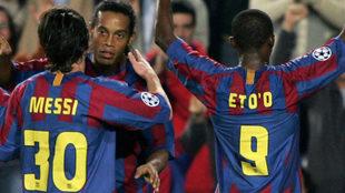 Messi, Ronaldinho y Eto'o