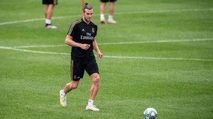 Gareth Bale, durante uno de los entrenamientos del Real Madrid en...