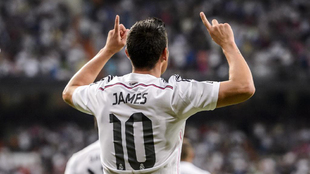 James, en un partido con el Real Madrid.