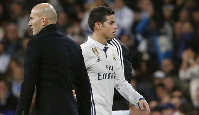 Zidane y James, cuando el colombiano aún pertenecía al Real Madrid.
