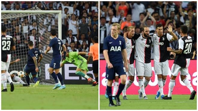Lamela hace su gol e Higuaín celebra, junto a Cristiano, el suyo.