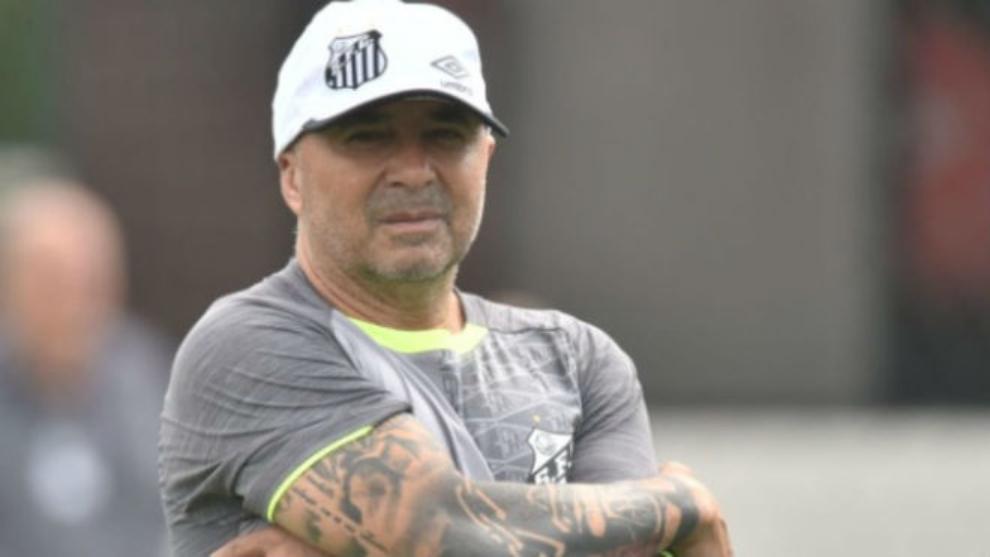 Sampaoli en un entrenamiento del Santos