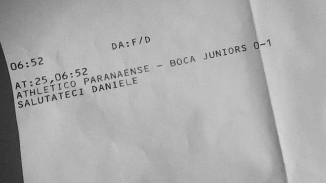 El papel que recibió De Rossi.