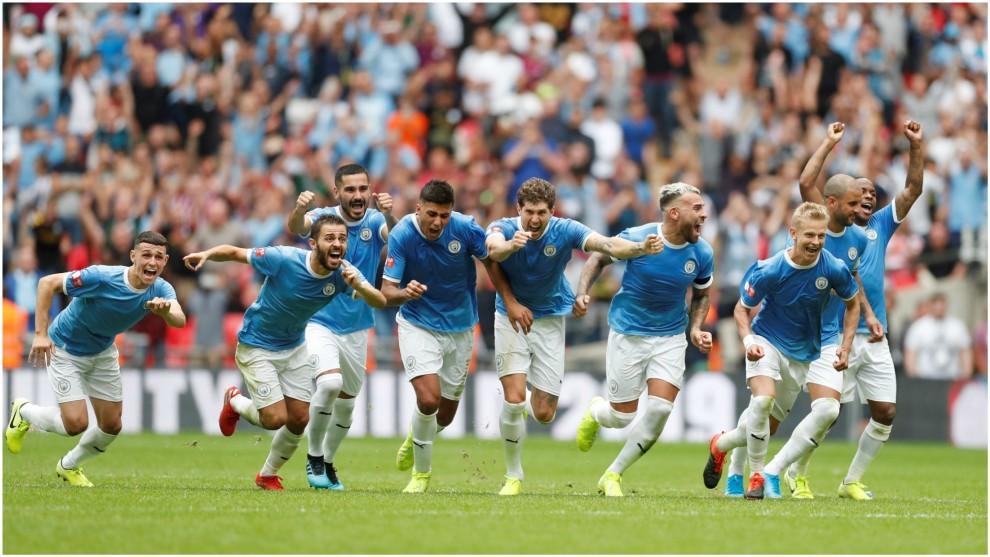 El Manchester City celebra la victoria ante el Liverpool.