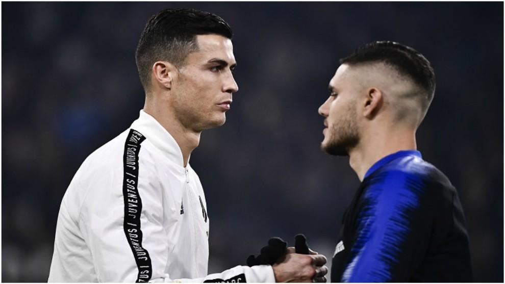 Cristiano Ronaldo e Icardi, en un partido entre Juventus e Inter en la...