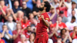 Mo Salah celebrando uno de sus goles.