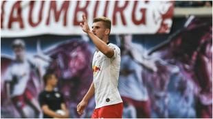 Timo Werner celebra su gol con el RB Leipzig.