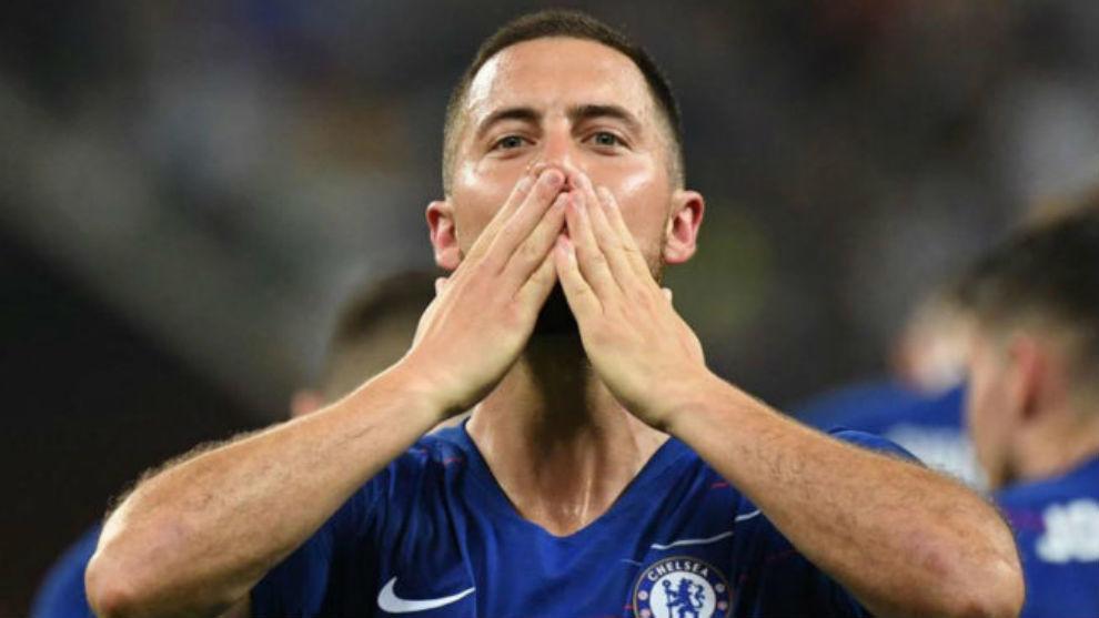 Eden Hazard, tras ganar la Europa League.