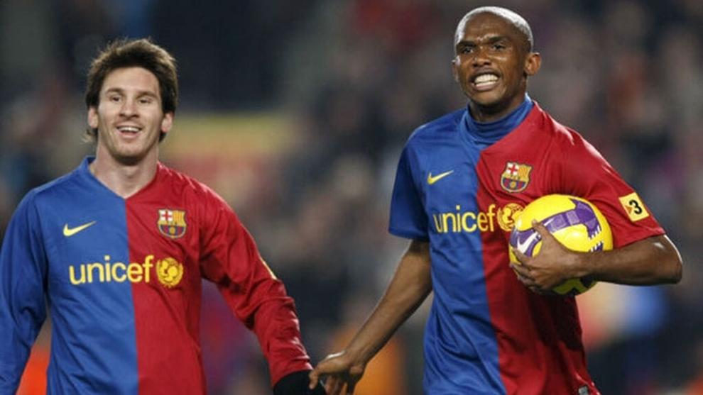 Messi y Eto'o, juntos en el Barcelona
