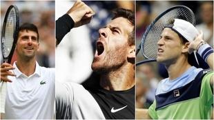 Djokovic, Del Potro y Schwartzman, tenistas profesionales.