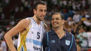 Manu Ginóbili y Sergio Hernández, cuando compartieron Selección.