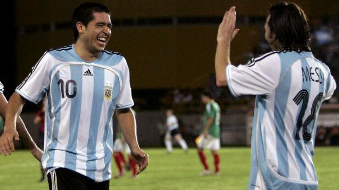 Riquelme y Messi, en la Selección Argentina.