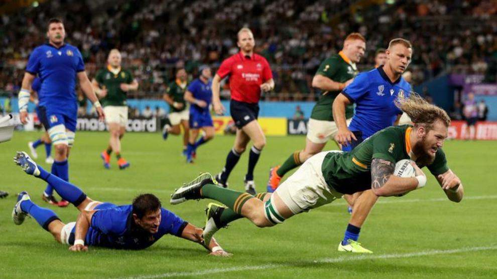 Sudáfrica apoyo 7 tries en el in-goal rival