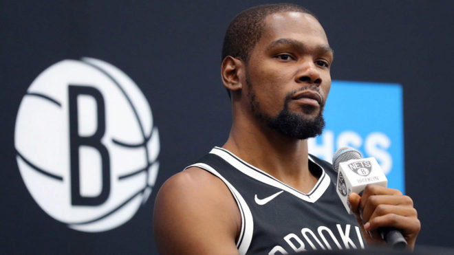 Kevin Durant, durante el Media Day de los Knicks.
