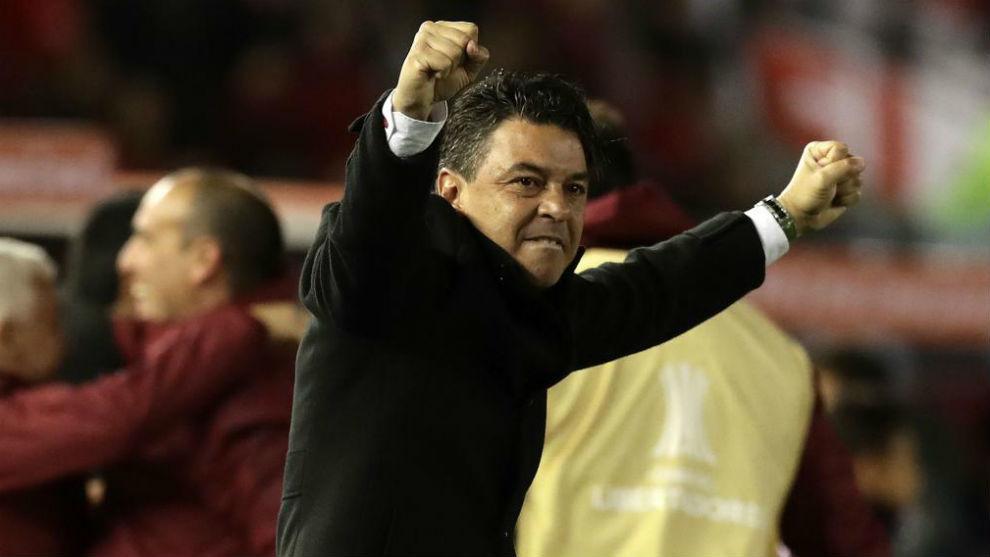 Marcelo Gallardo celebra una victoria de River.
