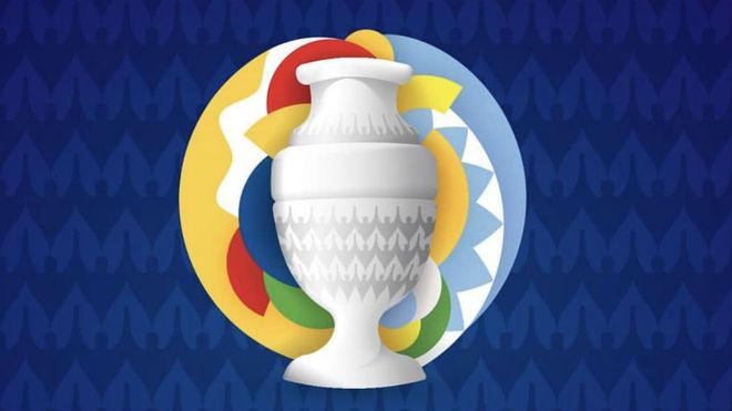 El logo de la Copa América 2020 que representa los colores de las...