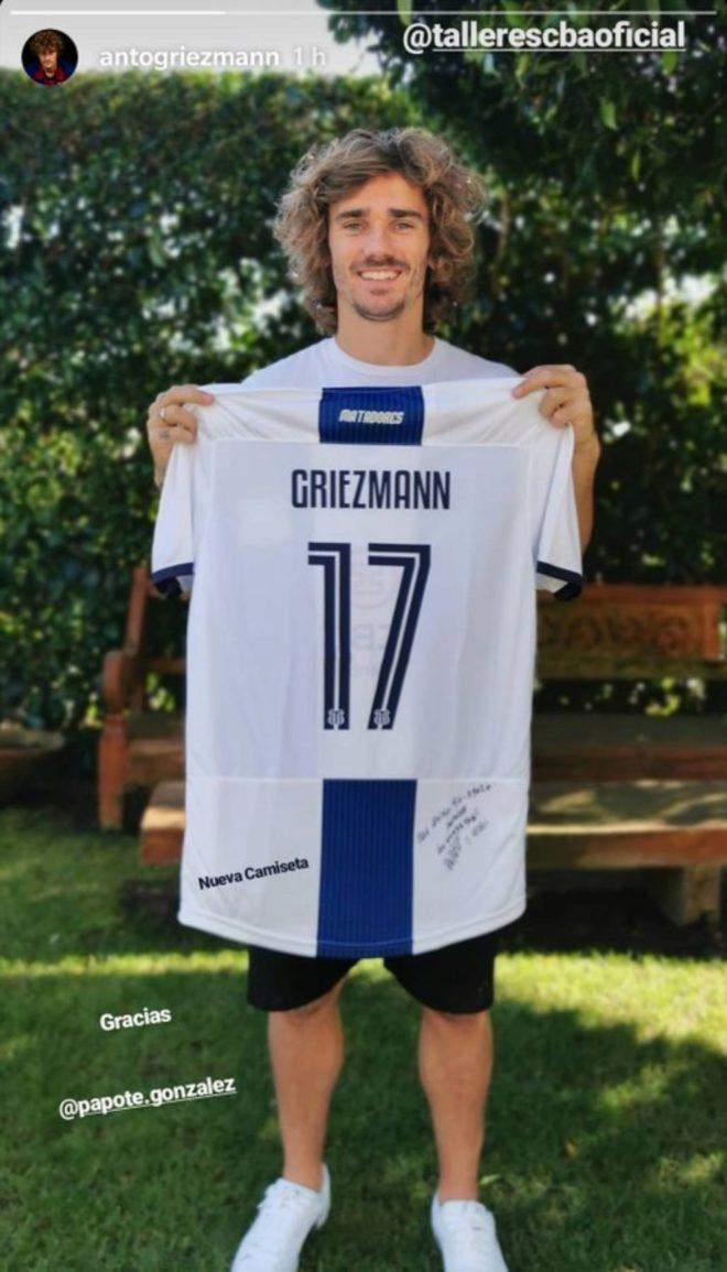Antoine Griezmann, con la camiseta de Talleres
