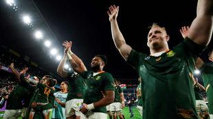 Sudáfrica celebra el triunfo en semifinales ante Gales.